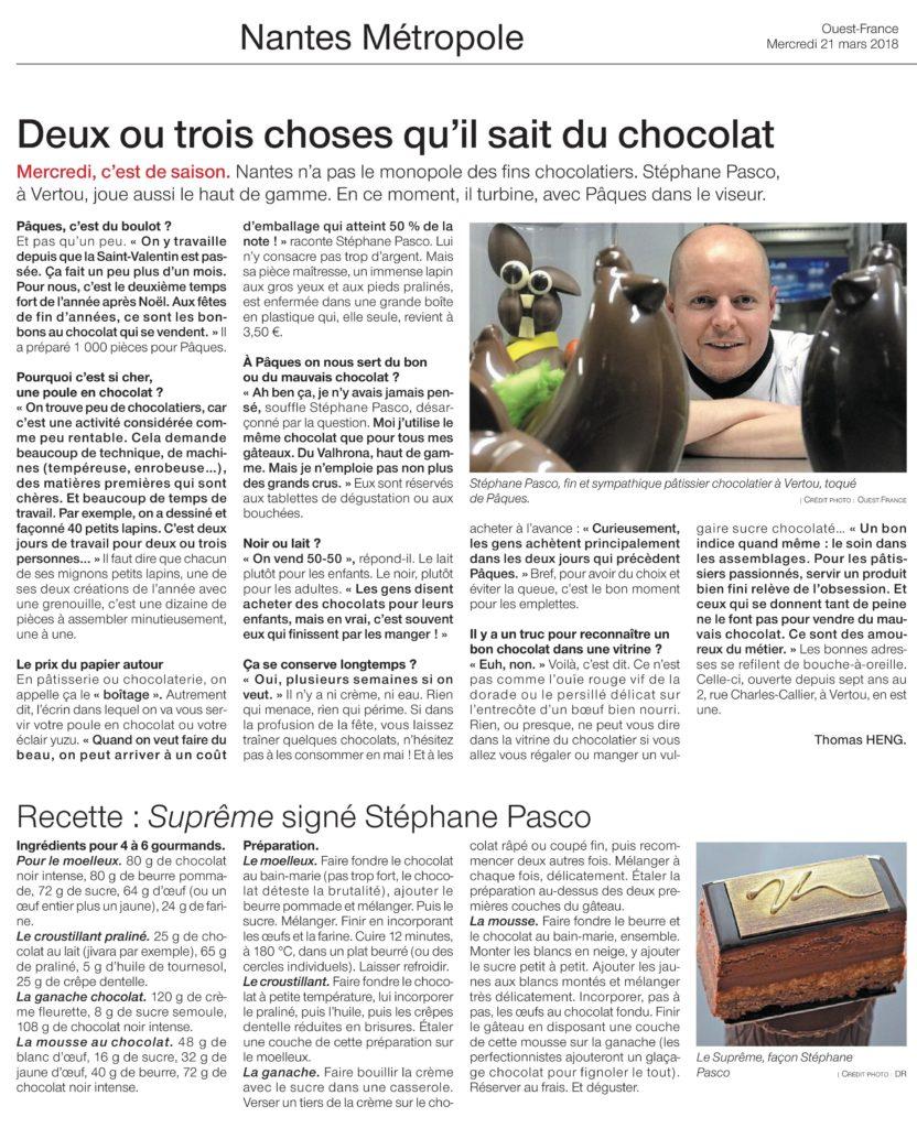 Article de Ouest-France intitulé deux ou trois choses que Stéphane Pasco sait du Chocolat