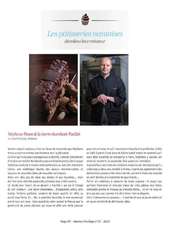 Article paru dans Nantes Privilège en 2013 intitulé Stéphane Pasco et la barre chocolatée Facilité