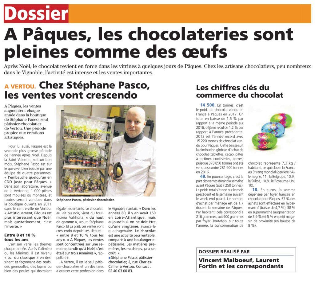 Article de l'Hebdo Sèvre et Maine sur Stéphane Pasco et les Chocolats de Pâques