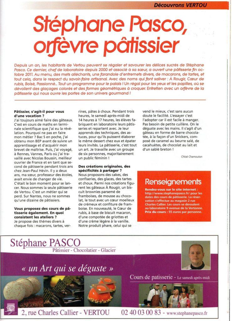 Article de A Nantes Reportages intitulé Stéphane Pasco, orfèvre pâtissier