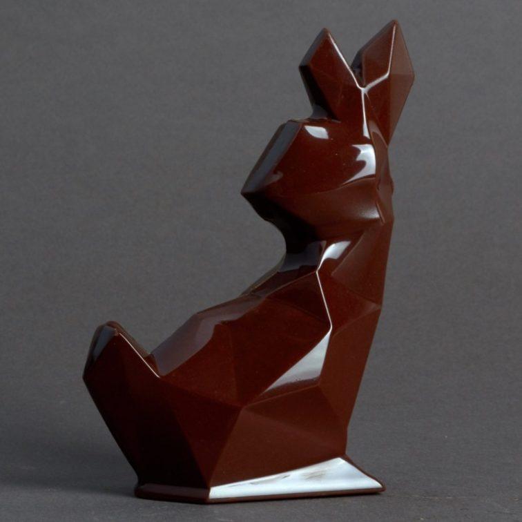 Moulage Lapin Origami de Pâques en Chocolat Noir de Stéphane Pasco