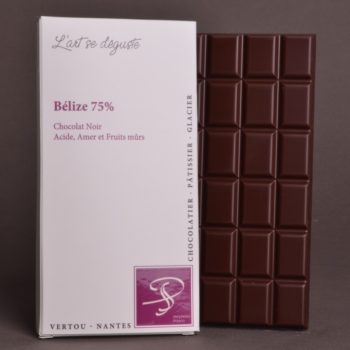 Tablette Belize 75% Chocolat Noir de Stéphane Pasco, Pure Origine, aux notes Acides, Amères et Fruits Murs