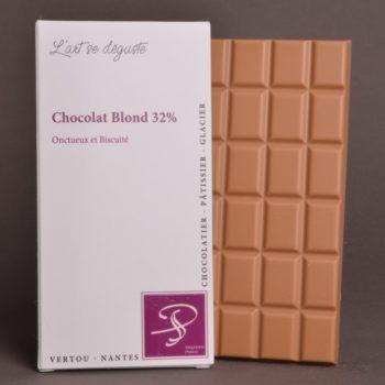 Tablette Chocolat Blond 32% de Stéphane Pasco, aux notes Onctueuses et Biscuitées