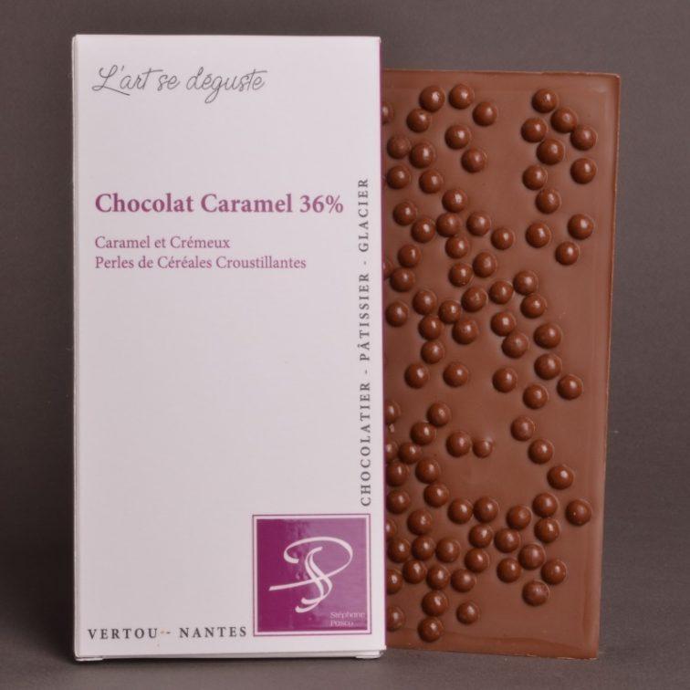 Tablette Chocolat Caramel 36% Perles de Céréales Croustillantes de Stéphane Pasco, aux notes de Caramel et Crémeuses