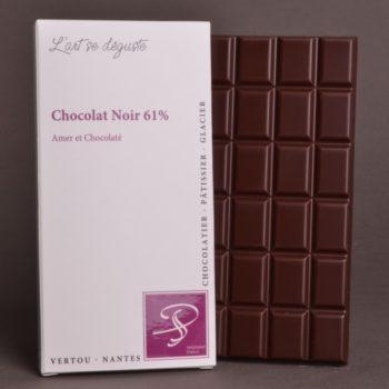 Tablette Chocolat Noir 61% de Stéphane Pasco, aux notes Amères et Chocolatées