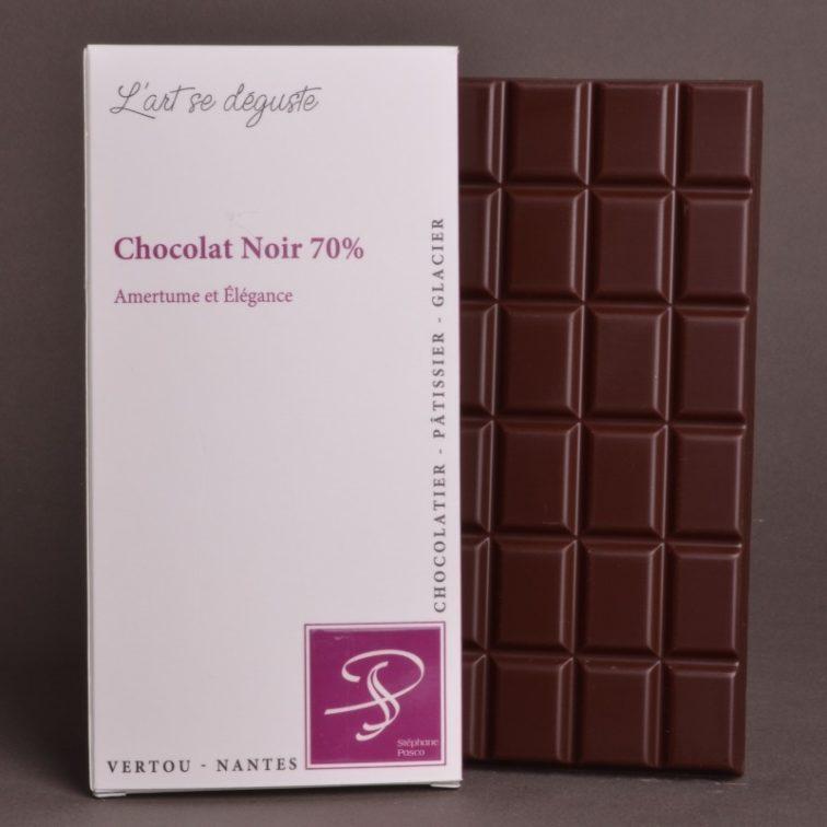 Tablette Chocolat Noir 70% de Stéphane Pasco, entre Amertume et Élégance