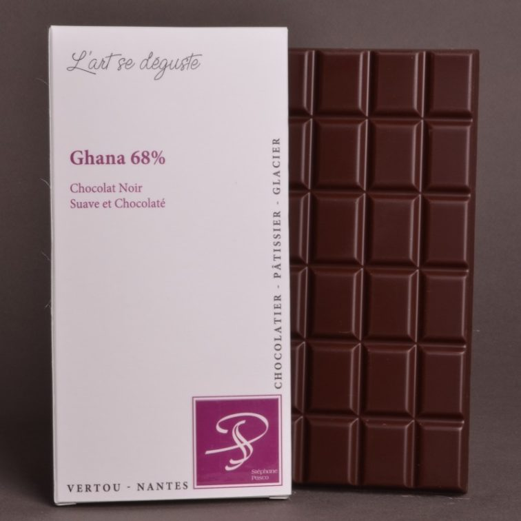 Tablette Ghana 68% Chocolat Noir de Stéphane Pasco, Pure origine, aux notes Suaves et Chocolatées
