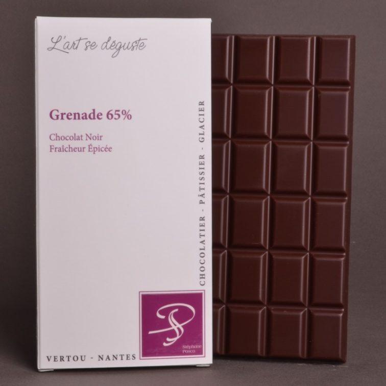 Tablette Grenade 65% Chocolat Noir de Stéphane Pasco, Pure Origine, aux notes de Fraîcheur épicée