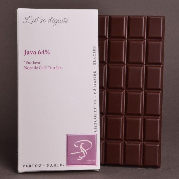 Tablette Java 64% Pur Java de Stéphane Pasco, Pure Origine, aux notes de Café Torréfié