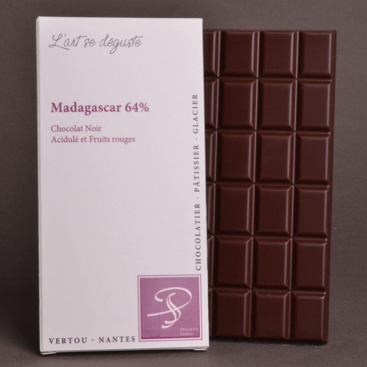Tablette Madagascar 64% Chocolat Noir de Stéphane Pasco, Pure Origine, aux notes Acidulées et de Fruits rouges
