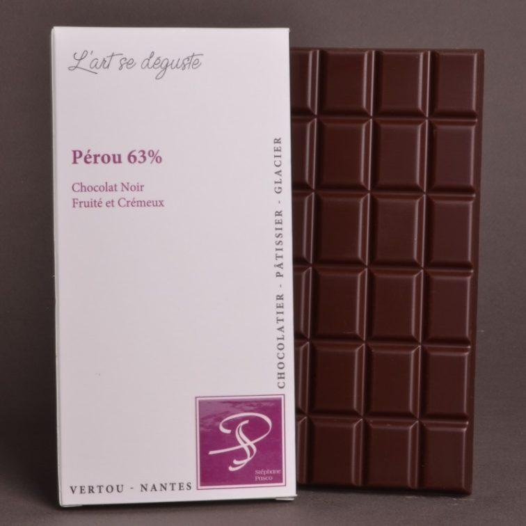 Tablette Pérou 63% Chocolat Noir de Stéphane Pasco, Pure Origine, aux notes Fruitées et Crémeuses