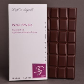 Tablette Pérou 70% Bio Chocolat Noir de Stéphane Pasco, Pure Origine, aux notes d'Agrumes et tout en Amertume Intense