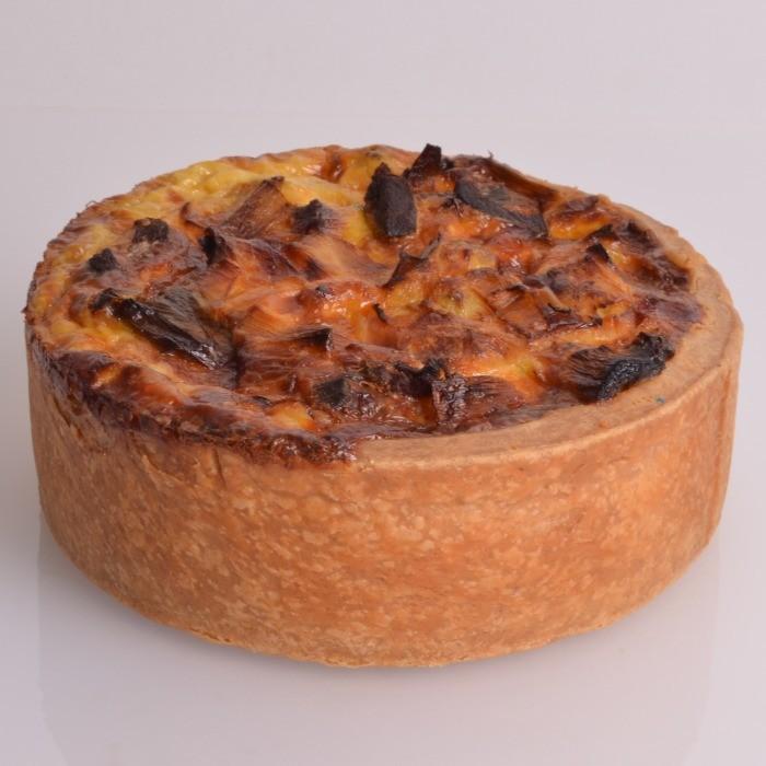 Quiche Poireaux Chèvre Lardon de Stéphane Pasco, sur une pâte réalisée avec de la Farine d'épeautre