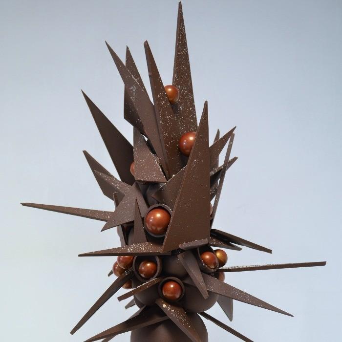 Pièce artistique en Chocolat en forme d'Arbre Épine de Stéphane Pasco, artisan Chocolatier