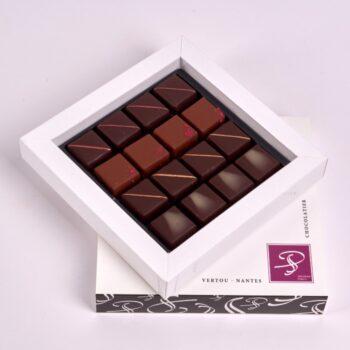 Coffret Petit Carré de Bonbons de Chocolat Fruités, de Stéphane Pasco, Chocolatier à Nantes et Vertou