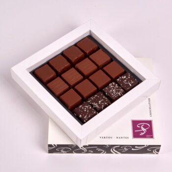 Coffret Petit Carré de Bonbons de Chocolat Pralinés, de Stéphane Pasco, Chocolatier à Nantes et Vertou