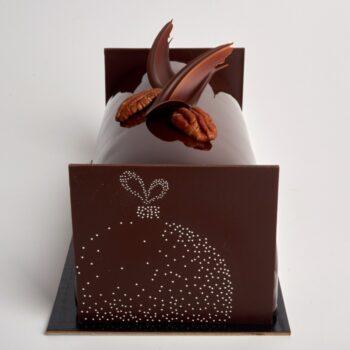 Bûche de Noël Fée de Stéphane Pasco, au Chocolat Noir et Caramel à la Fleur de Sel
