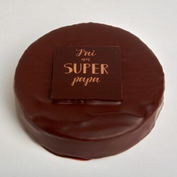 Médaille Super Papa, en Chocolat Noir ou Lait, garnie d'un Praliné Craquant aux Éclats d'amande et de Noisette