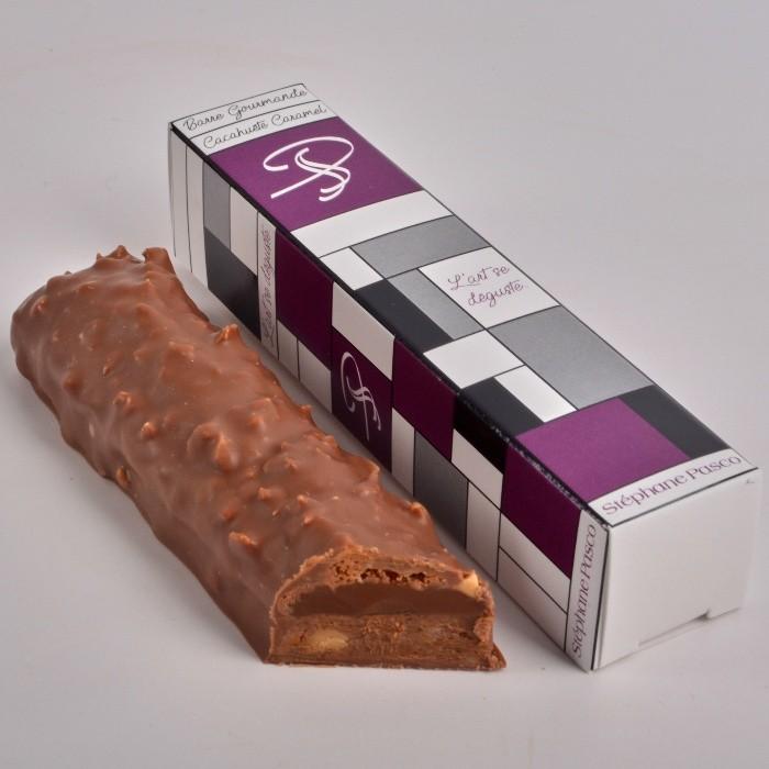 Barre Gourmande Cacahuète Caramel, enrobée de Chocolat Lait de Stéphane Pasco, pour une pause coupe faim