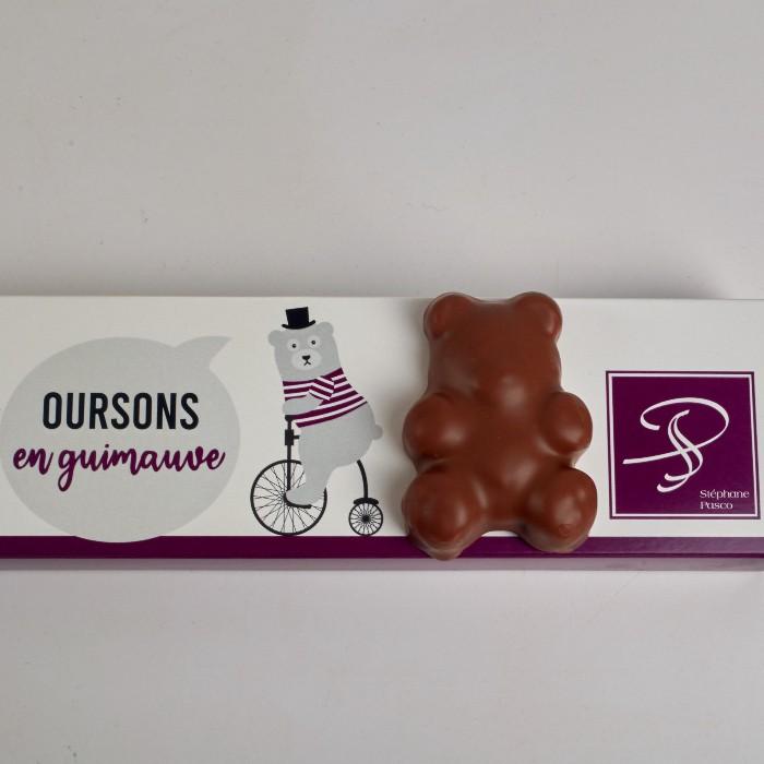 6 Guimauves Framboise enrobées de Chocolat Lait, en forme d'Ourson, de Stéphane Pasco, Chocolatier à Nantes